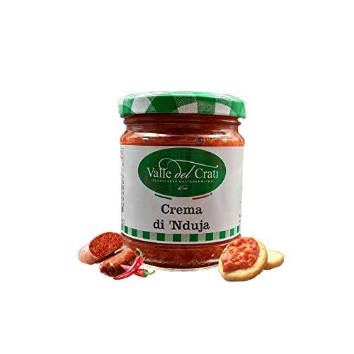 Crema di Nduja , Crema Piccante Salame Spalmabile Di Puro Suino Lavorazione Artigianale Condimento per Aperitivi Antipasti Pane Pizza Primi Piatti, Vasetto (180 grammi)