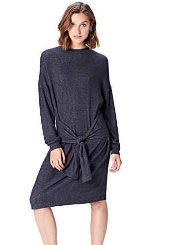 Marca Amazon - find. Vestido con Lazada para Mujer, Azul (Navy Marl), 40, Label: M