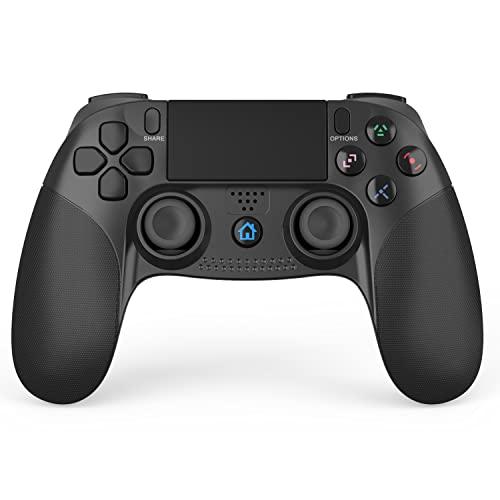 PS4 コントローラー 無線 Bluetooth接続 HD振動 重力感応 ゲームパット搭載 高耐久ボタン イヤホンジャック 500mAhバッテリー スピーカー 4代用 日本語説明書付き PS3 コントローラー(ブラック)