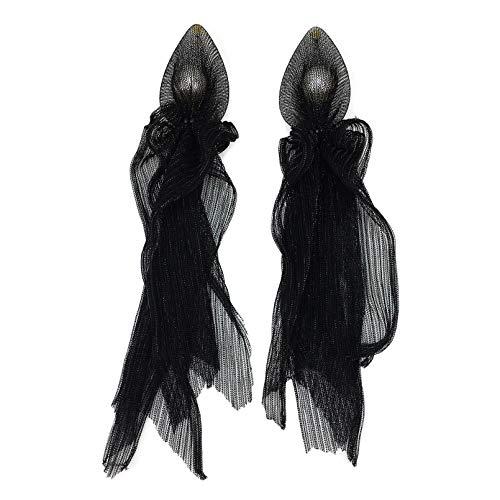 Pendientes grandes de encaje a la moda, pendientes largos de perlas de cristal, pendientes grandes, joyería de boda, pendientes grandes (Color de metal: aretes negros)