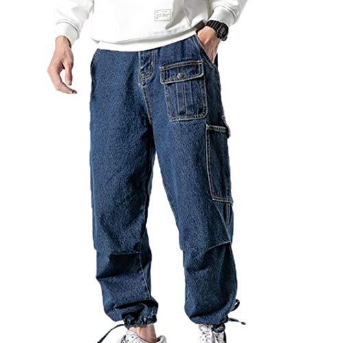 Feidaeu Jeans da Uomo Vintage Baggy Denim Hip Pantaloni HP Streetwear Tasche Multiple Pantaloni Resistenti allo sbiadimento Taglie Forti