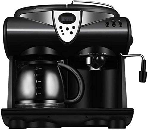 Fully Automatic Coffee Machine, Coffee Maker with Milk Frother 2 Way Coffee Machine for K Cup Pods & Ground Coffee Brew and Froth for Cappuccino and Latte with 1.5 L Glass Frothing Mug Black