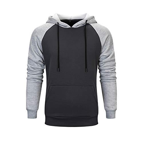 Homme Sweat Shirt Pull avec Ficelle réglable à Manches Longues Casual Veste de Sport Sweater Gris foncé L