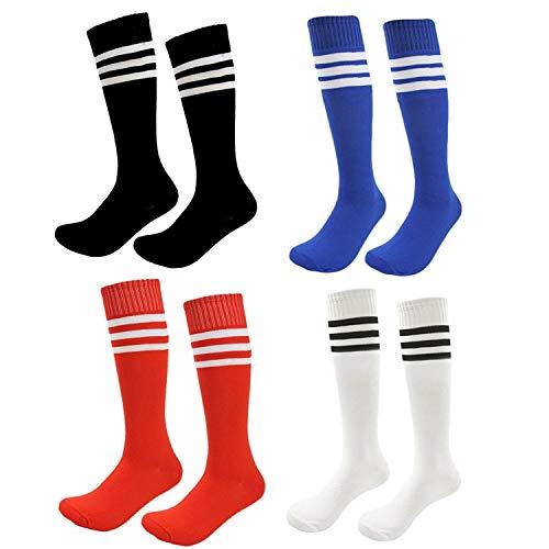 Kids Soccer Socks 4 Pack Boys Girls Cotton Team Socks Teens Children Soccer Socks (Shoe size 1-5 and Ages 8-11, Rainbow1)