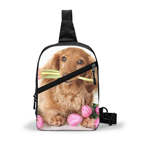 Gym Sling Bag, Water Repellent Travel Backpack Outdoor Chest Shoulder Bags Crossboby Casual Daypack For Men Women,Dachshund Puppy Dog Spring Pink Tulip