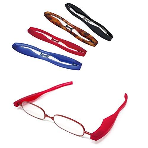 【ポッドリーダー スマート-ブルーライトカット対応レンズ】ブルーライトカット 超軽量 コンパクトな折りたたみ式 老眼鏡 4色 +1.0~+3.0 胸ポケットに入るサイズ Podreader-Blue light cut (+2.0, レッド)