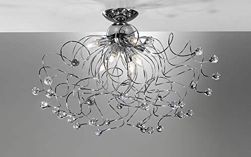 Lámpara de techo de 8 luces con cristales - Compatible con bombilla clase