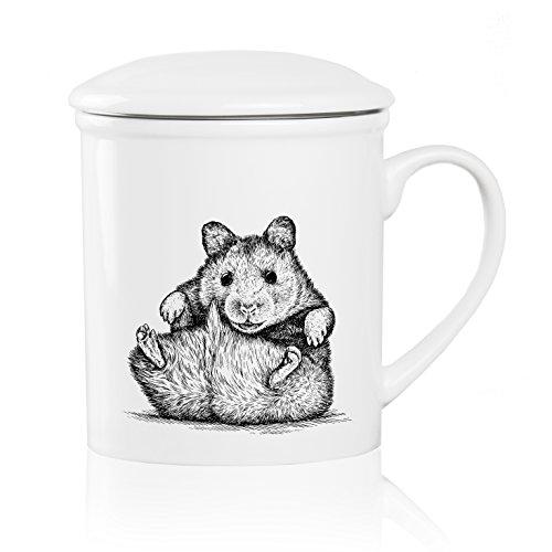We Love Home - Taza de té de Porcelana con Tapa + Filtro metálico INOX 25 cl. Estilo nórdico Modelo Mouse