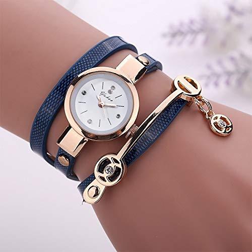 XIALINR Reloj de Brazalete, Reloj de Cuarzo de señora, Relojes for niñas, Reloj de Cuarzo for Mujer, Reloj de Pulsera de Pulsera de Correa de Metal Reloj de Moda (Color : Blue)