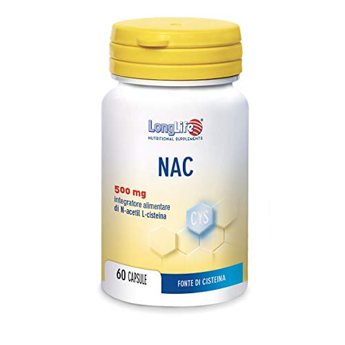 NAC LongLife | Fonte dell'aminoacido solforato L-cisteina e precursore del glutatione | Vie Respiratorie | 60 capsule di origine vegetale.