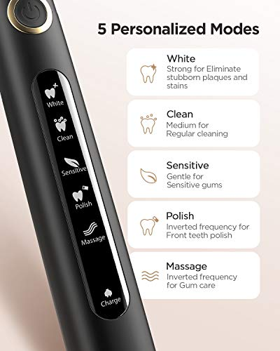 Fairywill Electric Toothbrush for Adults and Kids, Rechargeable Sonic Toothbrush Ultra Powerful with Smart Timer, 4 Hours Fast Charge Lasts 30 Days, 5 Modes Travel Toothbrush with 4 Brush Heads &1 Brush Head Cover, Black