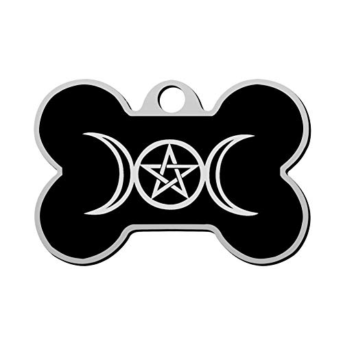 Custom Triple Moon Pentacle Pagan Pet ID Tag Bone Shape Dog Tags & Cat Tags Identity Tags