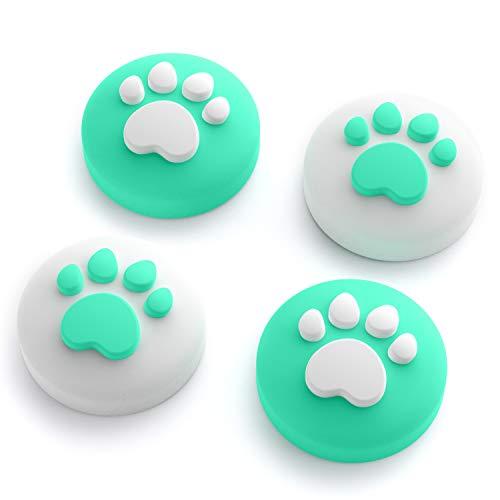 Cat Claw Design Daumen Griff Kappen, Joystick Kappe Thumb Grip Geeignet für Nintendo Switch & Lite, Weiche Silikonhülle für Joy-Con Controller (Minz Grün)