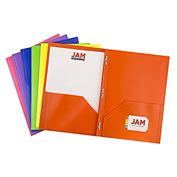 JAM PAPER Plastic Color POP Folders - 2 Pocket Durable Folders with Metal Prongs Fastener Clasps - Assorted Primary Colors - 6/Pack