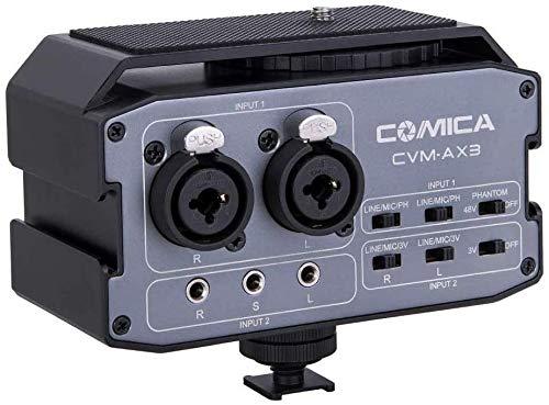 Audio Mischer Comica CVM-AX3 Dual Groups Kamera Mikrofon Adapter mit 3,5 mm/XLR / 6,35 mm Eingang, Vorverstärker für Canon Sony DSLR Kamera/Camcorder YouTube Vlogging(Stereo/Mono Ausgangsschalter)