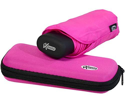 iX-Brella, Super Mini Ombrello tascabile–piccolo ombrello con custodia Rosa rosa fluo 18,5 cm