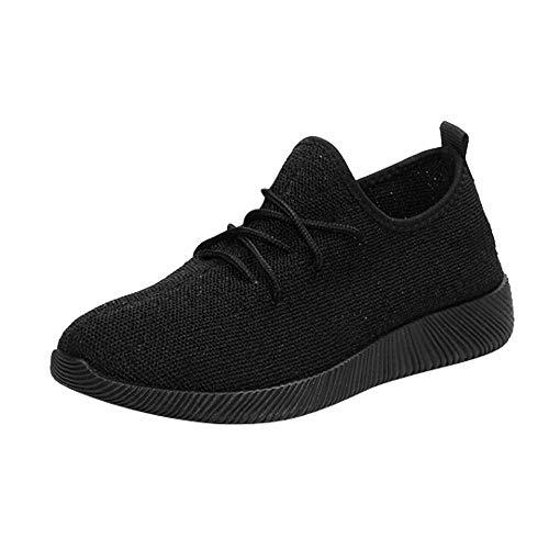 Zapatillas de Mujer Deporte Planas de Malla Transpirable Zapatos Casuales de Zapatos al Aire Libre para Estudiante Slip Casual en Suelas Cómodas Running Deportivos Yvelands(Negro,37)