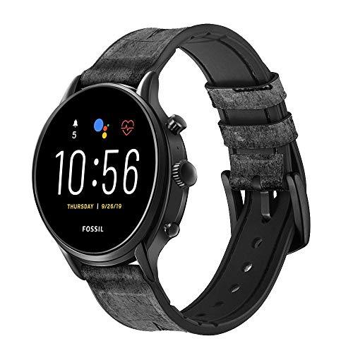 Innovedesire Black Ace Spade Smart Watch Armband aus Leder und Silikon für Fossil Wristwatch Größe (20mm)