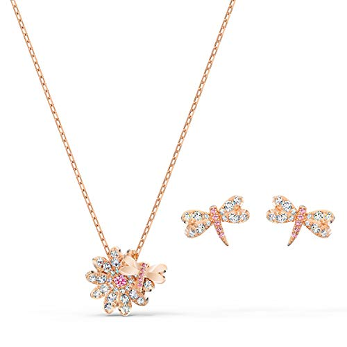 Swarovski Eternal Flower Set, Rose-Gold Tone Plated Women's Flower and Dragonfly Pierced Earrings and Pendant Necklace with White and Pink Crystals