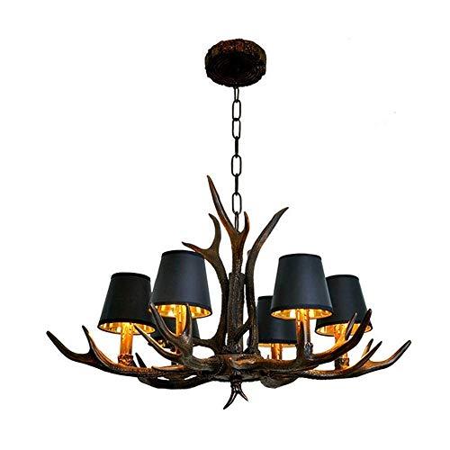 Raelf 6 Luces asta de la lámpara del Vintage American Clothing Resina lámpara de la lámpara de la Cornamenta Retro Store Cafe Restaurante Lámparas Creativo decoración Negro luz de la Vela