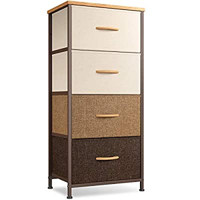 """Cubiker Dresser Storage Tower, 4 Drawers Fabric Organizer Unit for Bedroom Hallway Entryway Closets, 16"""" Small Dresser Clothes Storage with Sturdy Steel Frame Wood Top, Chocolate"""