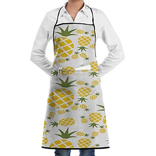 DayToy Schürze Kochschürze Küchenschürze Grillschürze Ananas Piktogramm dekorativSchürze zum Backen Garten Restaurant Grill mit 2 Taschen 20,5 x 28,4 Zoll
