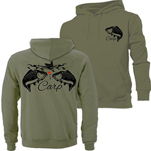 Big Carp Hoodie Hunter, Angeln, Angeln ideal Geburtstag, Vatertag, Weihnachtsgeschenk Dunkelviolett., grün