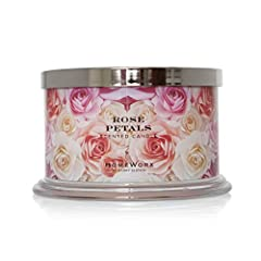 Rose Petals HomeWorx by Harry Slatkin 4 wick candle - Our 4 wick fragranced candle fills your entire home with the finest luxury ambience. Fragrance Notes: Rose, Peony, Apple, Melon, Geranium, Peach HomeWorx masterfully blended oils for a long-lastin...