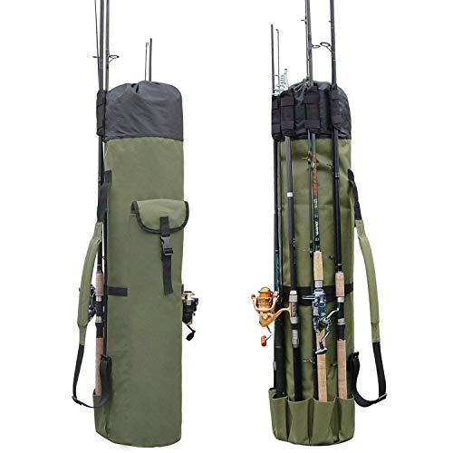 Lixada Fishing Rod Bag Canvas Fishing Rod Reel Organizer Bag Large Capacity Fishing Pole Holdall...