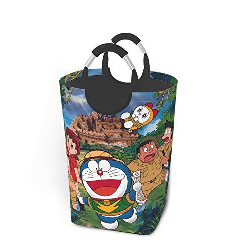Doraemon Nobita Cesta de la ropa sucia Pa plegable asas grandes cesta de almacenamiento portátil ideal para habitación de los niños, dormitorio universitario o sala de estar 50 lbla
