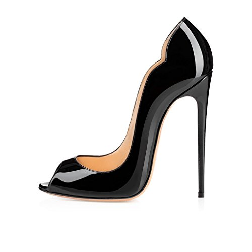 elashe - Damenschuhe - Bequeme High Heels 12cm - Peeptoe Stiletto Schwarz EU45