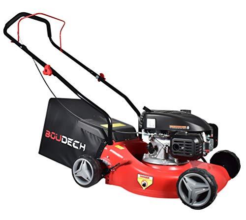 BOUDECH Cortacésped de empuje con ancho de corte de 400 mm y altura regulable en 7 niveles. Cortacésped ultraligero con potente motor de desenganche 123 cc 1,8 kW OHV 4 tiempos.