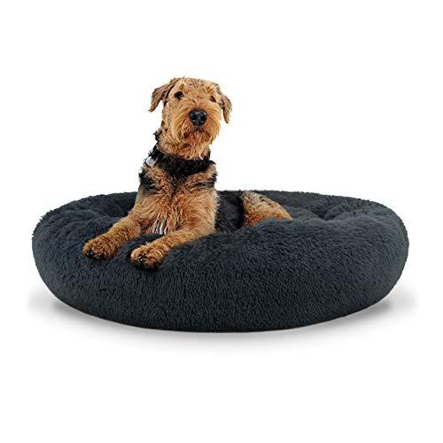 The Dog's Bed Lit pour chien en forme de donut avec housse amovible Gris acier Taille L