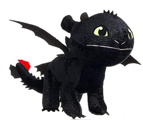 BEZBĘDNY smoki PLUSH olbrzymi 90 cm 100% oryginalny trener smoka czarny ciemna furia