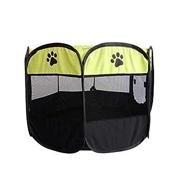 Maison Animaux Portable Pliant Tente pour Animaux De Compagnie Dog House Cage Chien Chat Tente Parc pour Chiots Chenil Yopeto Facile Opération Octogonale Clôture Clôture Niche, Vert, 73 X 73 X43 Cm