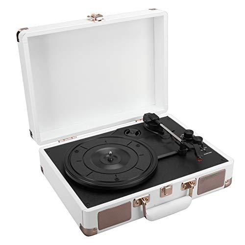 Tocadiscos de vinilo, portátil, vintage, inalámbrico, de 3 velocidades, tocadiscos con Bluetooth, tocadiscos, altavoces integrados, reproductor de vinilo clásico, lápiz óptico adicional(YO)
