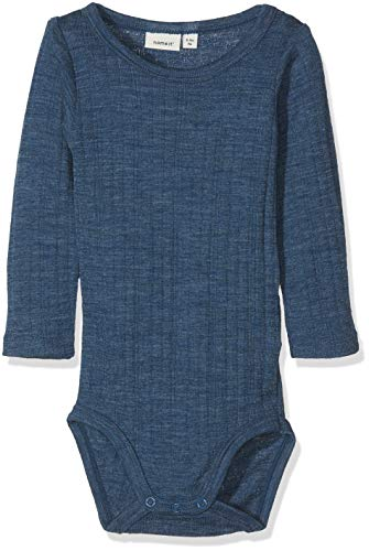 NAME IT Baby-Jungen NBMWANG Wool Needle LS Body NOOS Strampler, Blau (Ensign Blue), 68