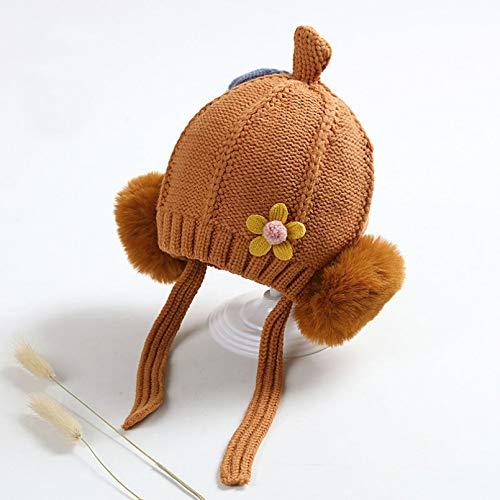 YACHAO Baby Hut Winter Baby Hut Kinderhüte Für Mädchen Wintermütze Nette Kugel Ohr Warme Mütze Und Schal Für Mädchen Kinder Mützen Kinder Winterhüte-Kaffeehut