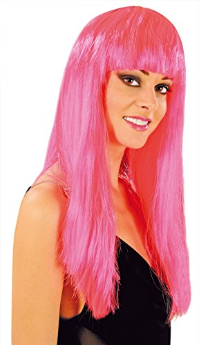 Cabaret Wigs Peluca Rosa Fantasa larga con flequillo para disfraz/Ratona fucsia