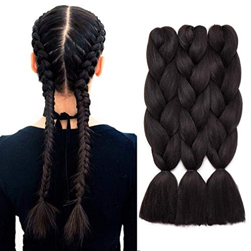 24 Pouces Tresse Braiding Hair Tressage Extension Cheveux Synthétique Braids Meches 3Pcs 300g 60CM -#1B Noir naturel