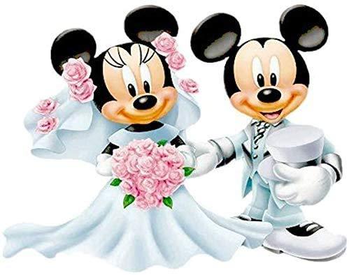 Better Selection 5D-Diamant-Leinwandbild, 30x40 cm, Mickey Minnie nach Zahlen, Strassstein-Gemälde, Micky Maus Hochzeit