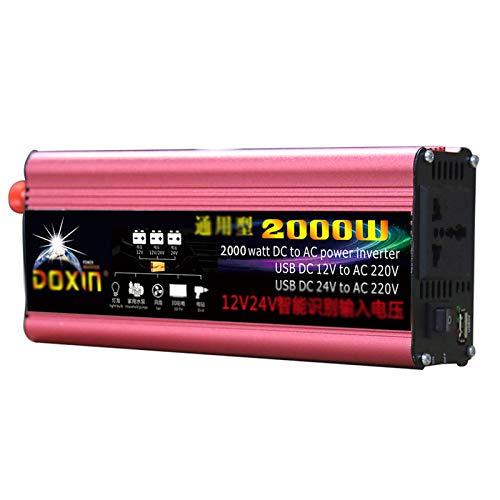 GRTBNH Inversor de Onda sinusoidal modificada de 2000W DC 12V / 24V a 110V / 220V Inversor de Corriente para automóvil con 1 tomacorriente y 1 Puerto USB 2.1A, para Caravana,12v to 220v,2000W