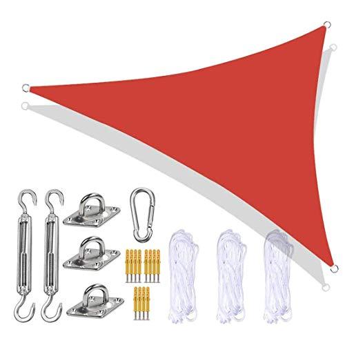 Parasol triangular impermeable, antiUV, para exteriores, con kit de fijación resistente, 3 cuerdas para fiestas de jardín al aire libre, 3,6 x 3,6 x 3,6 x 3,6 m