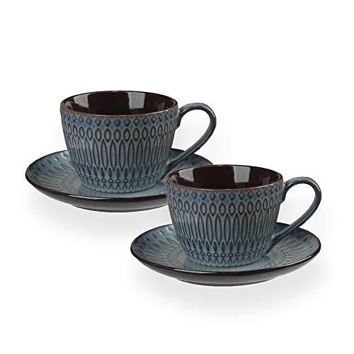 HARLIANGXY Cappuccino Tassen Dickwandig, Kaffeetasse, 2er Set Keramik Tassen mit Untertasse, Porzellan, Tasse 200 ml, Cappuccinotassen mit Untersetzer, Geschenkidee