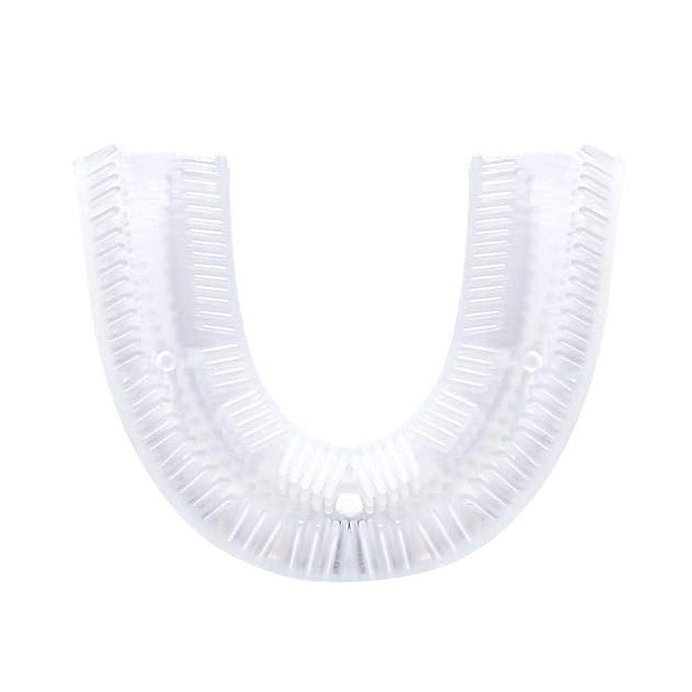 覗くボリューム代数的360°音波歯ブラシヘッド U字型シリコン歯ブラシヘッド 電動 自動 U型 超音波 怠け者 怠惰 成人 バブル 人間口腔工学 10秒歯磨き 新鮮な息吹き 歯垢除去 歯茎まで 無線充電 U字型のマウスピース 抗菌シリコン製歯ブラシヘッド