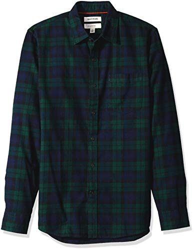 Amazon Brand - Goodthreads Men's Slim-Fit Long-Sleeve Brushed Flannel Shirt, Navy Black Watch Plaid, Small