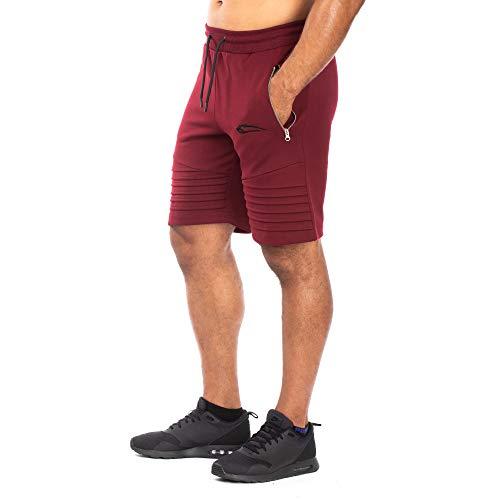 SMILODOX Herren Shorts Ripplez Kurze Hosen für Sport Gym Training & Freizeit   Sporthose - Freizeithose - Trainingshose - Sweatpants Jogger - Jogginghose Kurz, Farbe:Bordeaux, Größe:XXXL