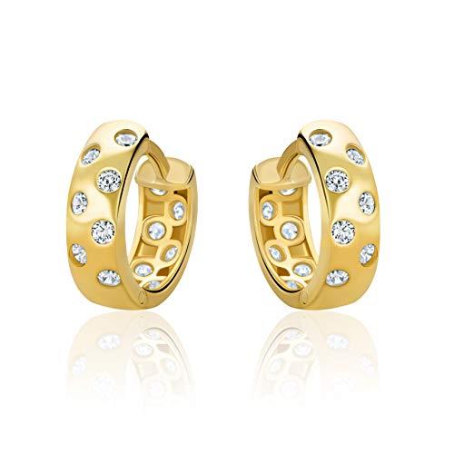 14 Karat 585 Hochglanz Gold Ohrringe Creolen mit Zirkonia Steinen - H109