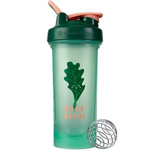 BlenderBottle Just for Fun Classic V2 Shaker Bottle Perfect for Protein Shakes and Pre Workout, 28-Ounce, Kale Yeah