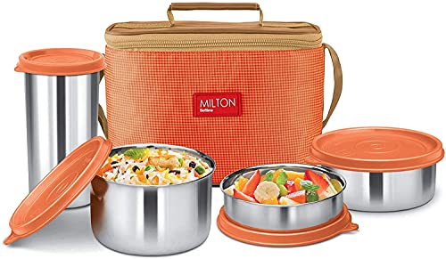 Milton Delicious Combo Stainless Steel Insulated Tiffin, Set of 4, Orange (3 Container and 1 Tumbler)